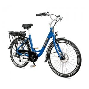 Vélo électrique vintage MIAMI BLEU SATIN, l'urbain dans l'âme du vélo électrique design.