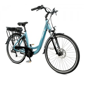 Vélo électrique vintage BORA-BORA GRIS BLEUTÉ, le polyvalent par excellence du vélo électrique design.